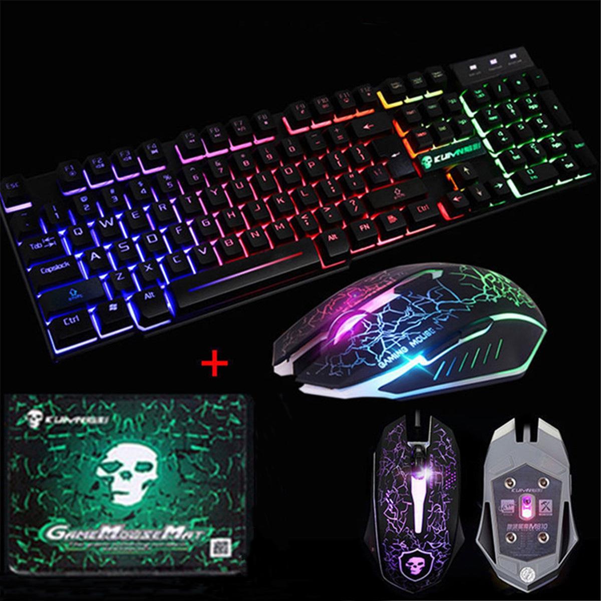 led backlit gaming keyboard 2400dpi mouse sets mouse pad usb wired keyboard set. Black Bedroom Furniture Sets. Home Design Ideas
