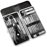 Y.F.M 18pcs Stainless Steel Nail Clippers Set Blackhead Extractor Tweezers Scissors Manicure Tools