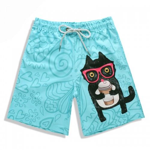 S5256 Beach Shorts Board Shorts 3D Camo Glasses Cat printing Fast drying waterproof Elasticity
