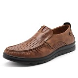 Men Casual Breathable Hollow Out Leather Oxfords Slip On Shoes