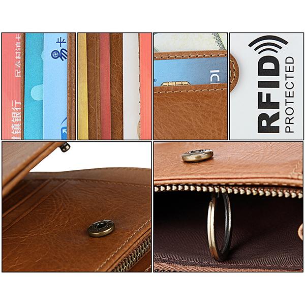 RFID Blocking Mens Bifold Wallet Genuine Leather Vintage Slim Card Holder Money Bag