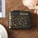 Brenice Women Emossed Floral 16 RFID Card Slots Retro Portable Cowhide Coin Purse Wallet
