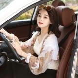Women Summer Outdoor Chiffon Print Long Arm Sleeves Driving Sunscreen Long Glove