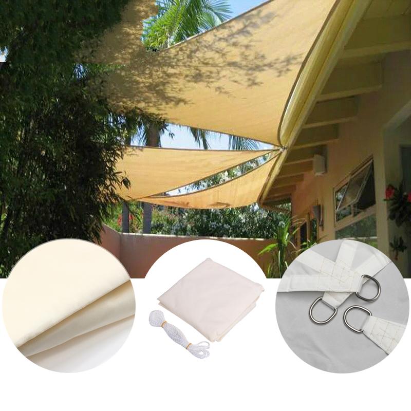 2.4x2.4x2.4M Triangle Sun Shade Sail Canopy Patio Garden Awning UV Block Top Shelter Beige