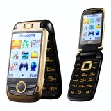"BLT V998 2.6"" 2000mAh Dual Touch Screen Dual SIM Magic Voice Flip Feature Phone"