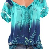 Women Floral Printed V-neck Short Sleeve T-Shirts