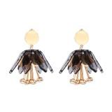 Statement Dangle Earring Rhinestone Flower Tassel Piercing Chandelier Ear Drop for Women