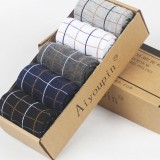 5 Pairs Plaid Men Combed Cotton Breathable Low Cut No Show Athletic Socks Non Slip Sock
