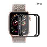 2 PCS ENKAY Hat-Prince 0.2mm 9H 3D Aluminum Alloy Frame Full Screen Glass Film for Apple Watch Series 4 40mm (Black)