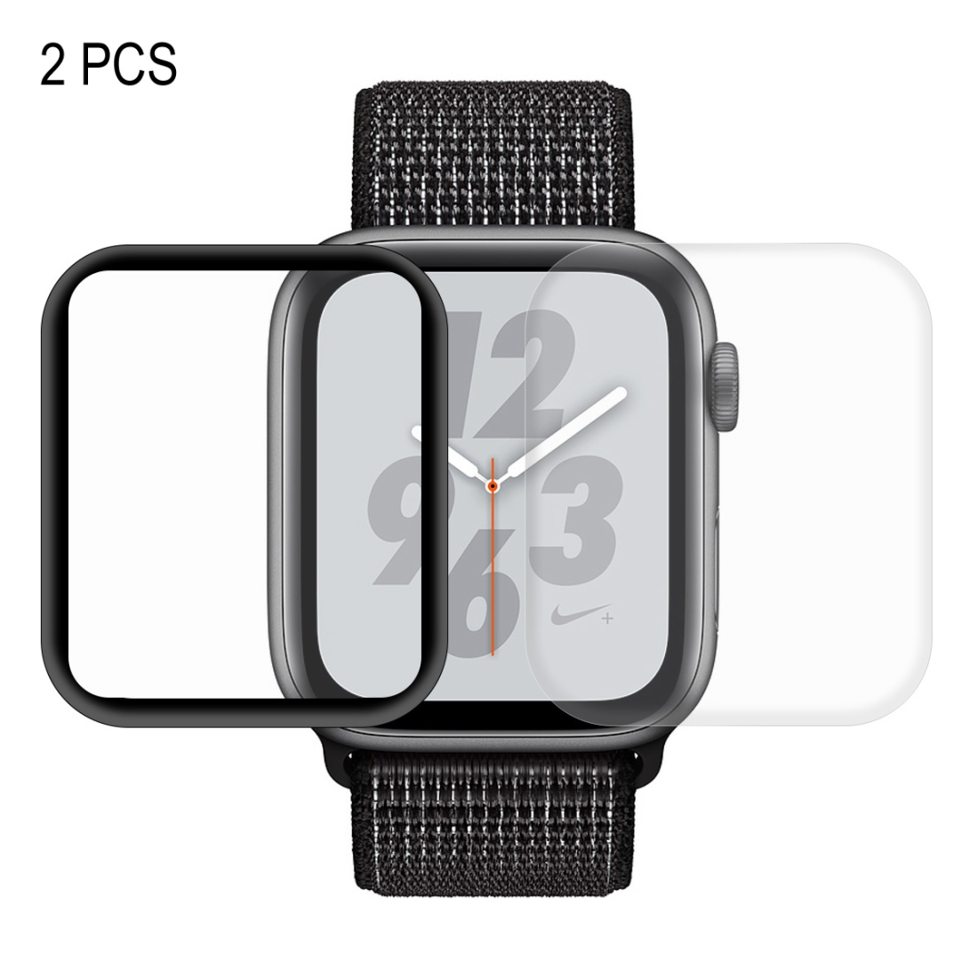 2 PCS ENKAY Hat-Prince 3D Full Screen PET + 3D Full Screen Electroplating PET Curved Heat Bending HD Screen Protector for Apple Watch Series 4 44mm