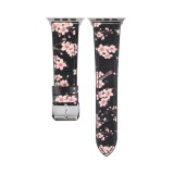 Fashion Plum Blossom Pattern Genuine Leather Wrist Watch Band for Apple Watch Series 3 & 2 & 1 42mm (Black)