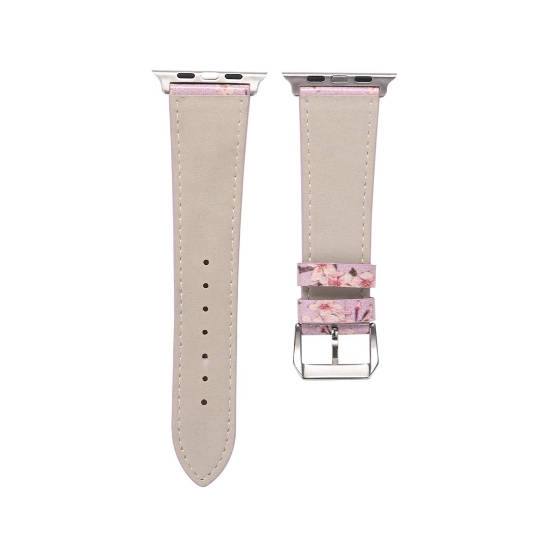 Fashion Plum Blossom Pattern Genuine Leather Wrist Watch Band for Apple Watch Series 3 & 2 & 1 42mm (Purple)