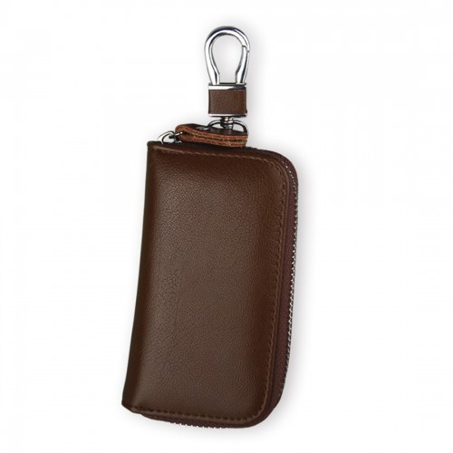 9092 Business Style Multifunctional Genuine Leather Zipper Car Key Bag (Brown)