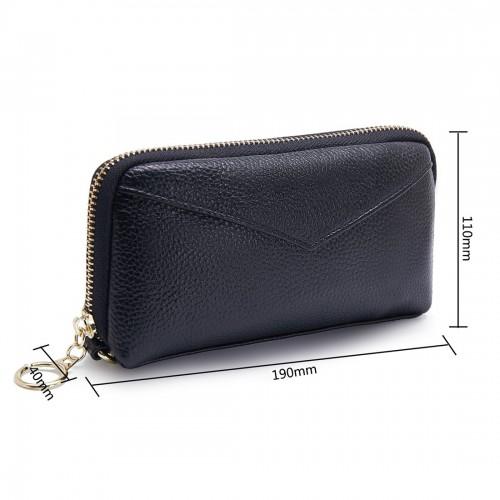 2-Folding Square Genuine Leather Handbag (Black)