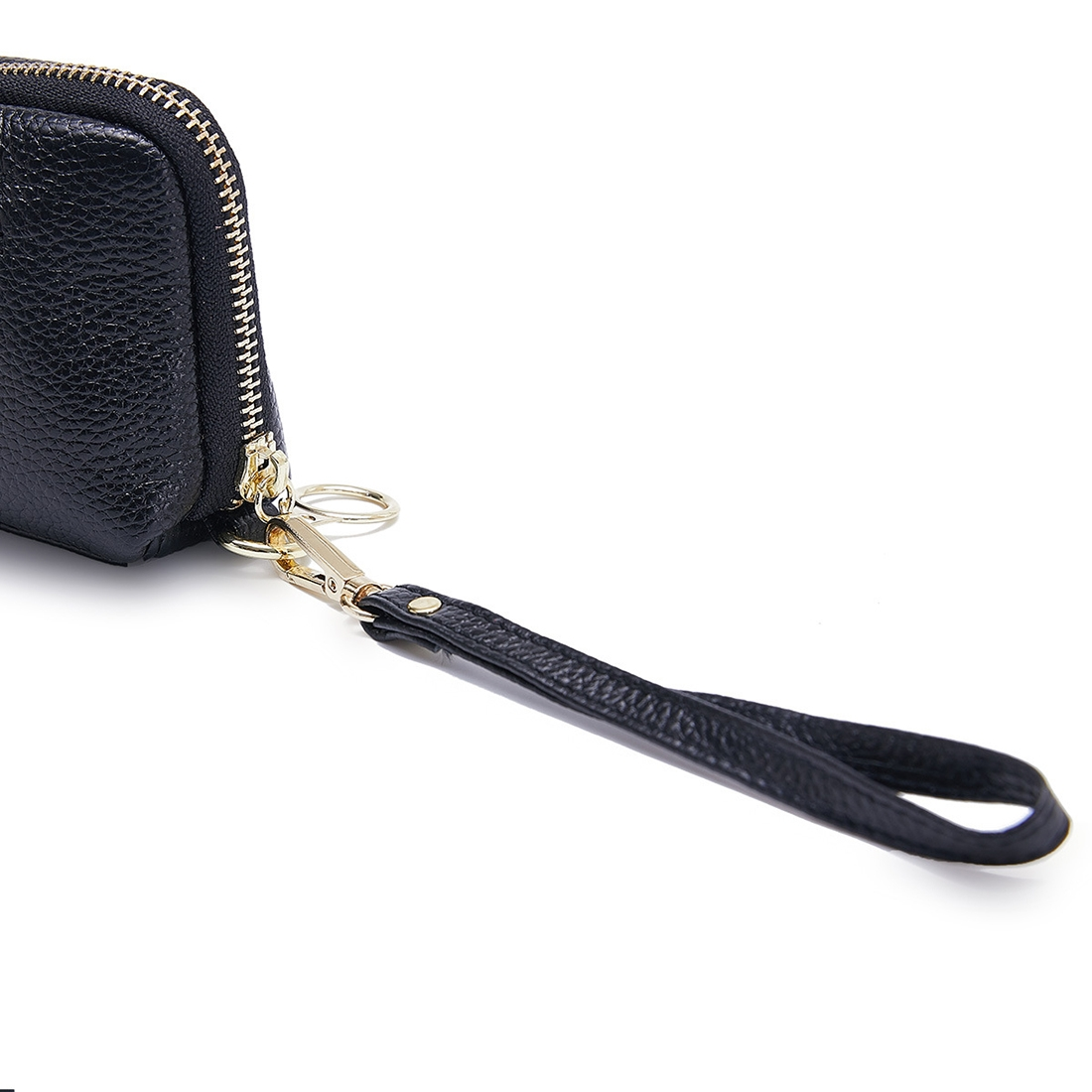 2-Folding Square Genuine Leather Handbag (Black)
