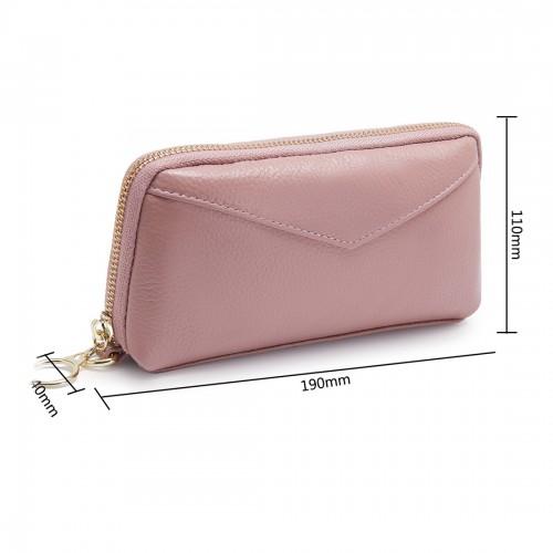 2-Folding Square Genuine Leather Handbag (Pink)