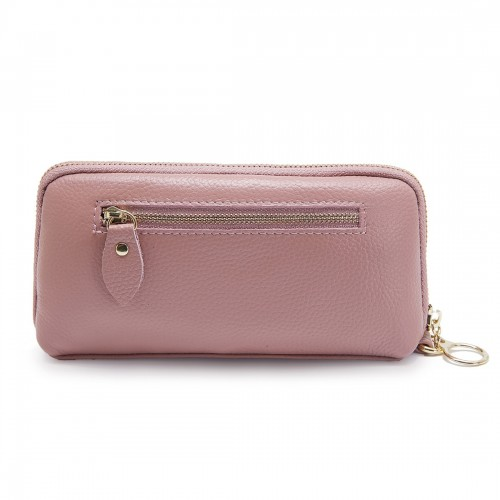 2-Folding Square Genuine Leather Handbag (Pink)