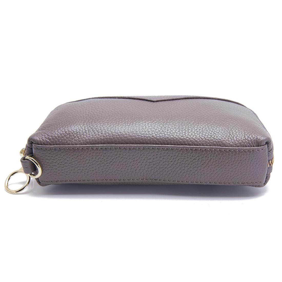 2-Folding Square Genuine Leather Handbag (Grey)