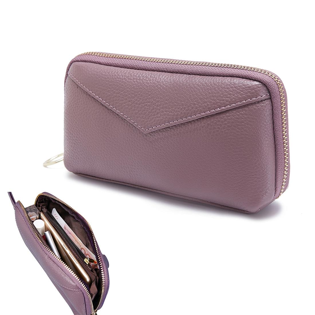 2-Folding Square Genuine Leather Handbag (Purple)