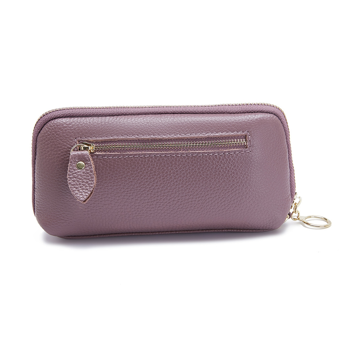 2-Folding Square Genuine Leather Handbag (Purple)