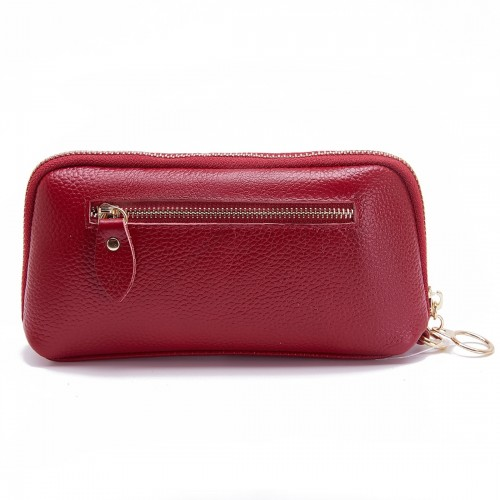 2-Folding Square Genuine Leather Handbag (Red)
