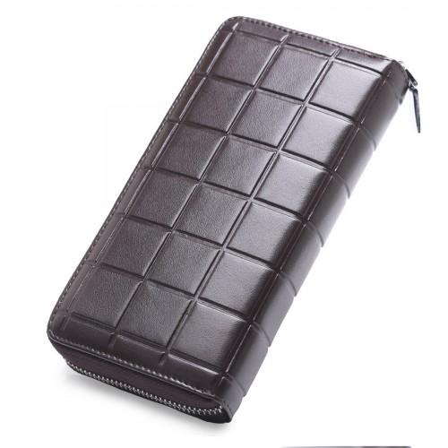 903 Antimagnetic RFID Female Large Capacity Casual Square Organ Card Bag/ wallet/ Clutch Bag (Coffee)