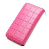 903 Antimagnetic RFID Female Large Capacity Casual Square Organ Card Bag/ wallet/ Clutch Bag (Magenta)