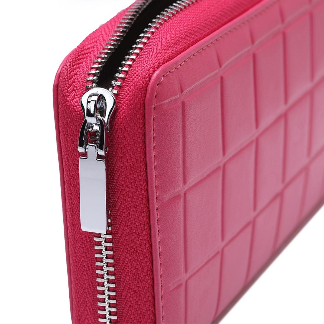 903 Antimagnetic RFID Female Large Capacity Casual Square Organ Card Bag/ wallet/ Clutch Bag (Magenta)