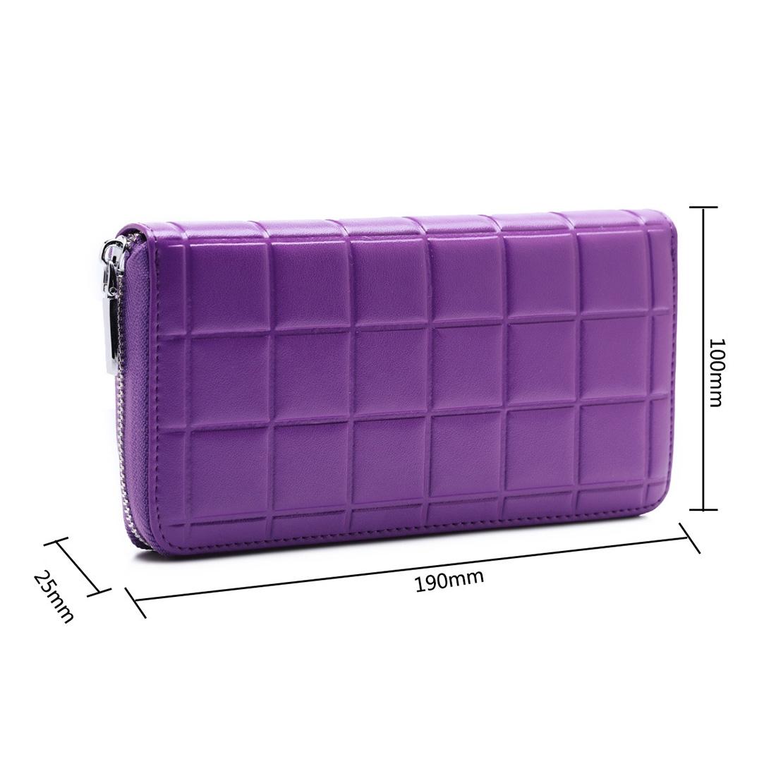 903 Antimagnetic RFID Female Large Capacity Casual Square Organ Card Bag/ wallet/ Clutch Bag (Purple)