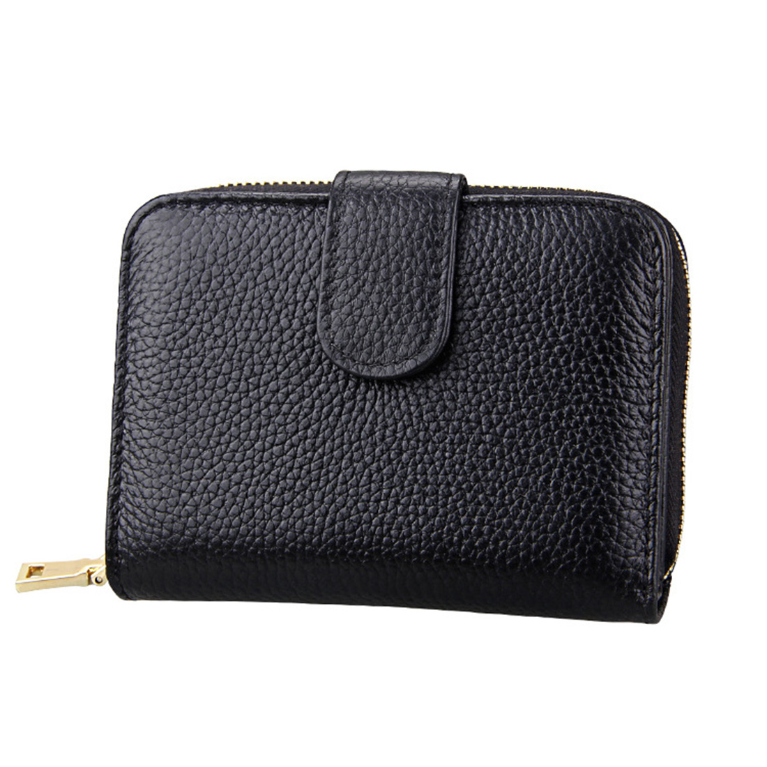 KB132 Female Style Full Grain Cow Leather Multifunctional Wallet/ Card Bag/ Driving License Package (Black)