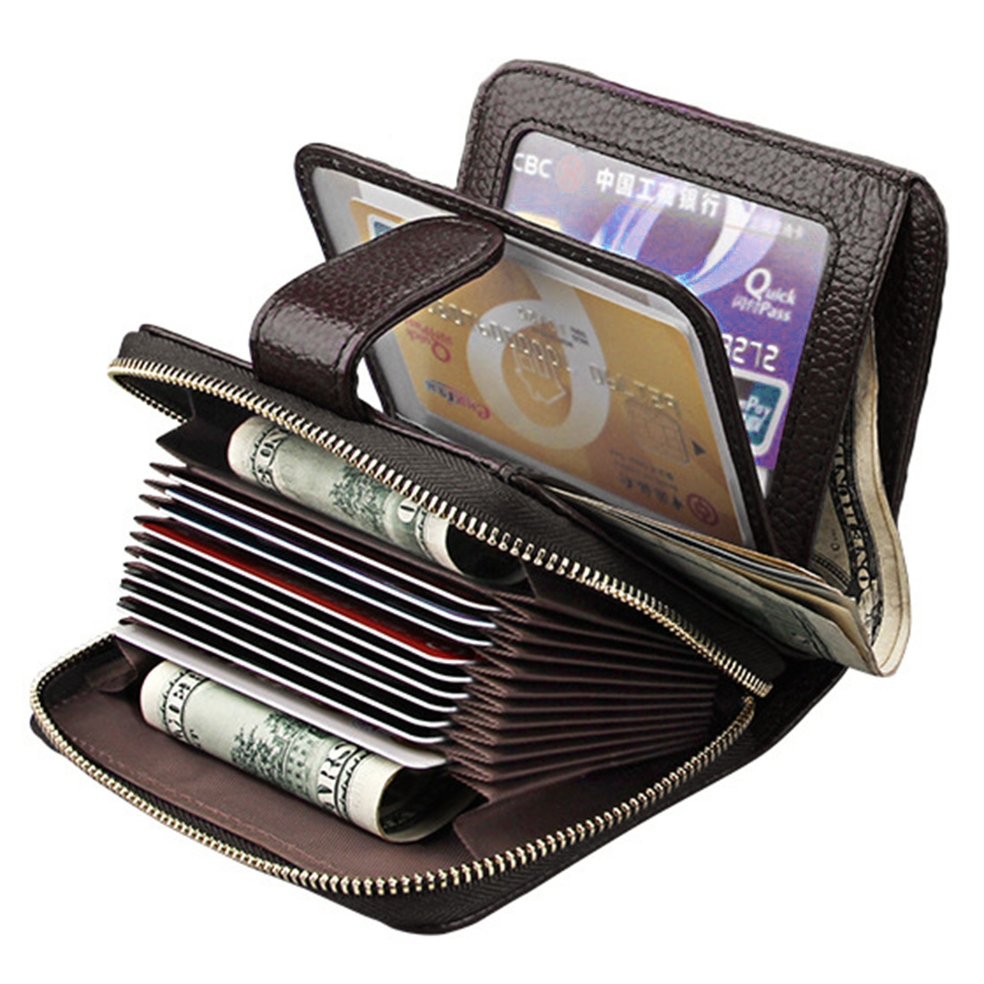 KB132 Female Style Full Grain Cow Leather Multifunctional Wallet/ Card Bag/ Driving License Package (Coffee)