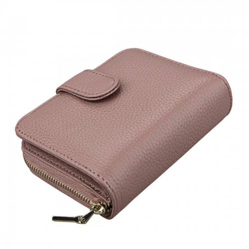 KB132 Female Style Full Grain Cow Leather Multifunctional Wallet/ Card Bag/ Driving License Package (Pink)