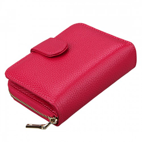 KB132 Female Style Full Grain Cow Leather Multifunctional Wallet/ Card Bag/ Driving License Package (Magenta)