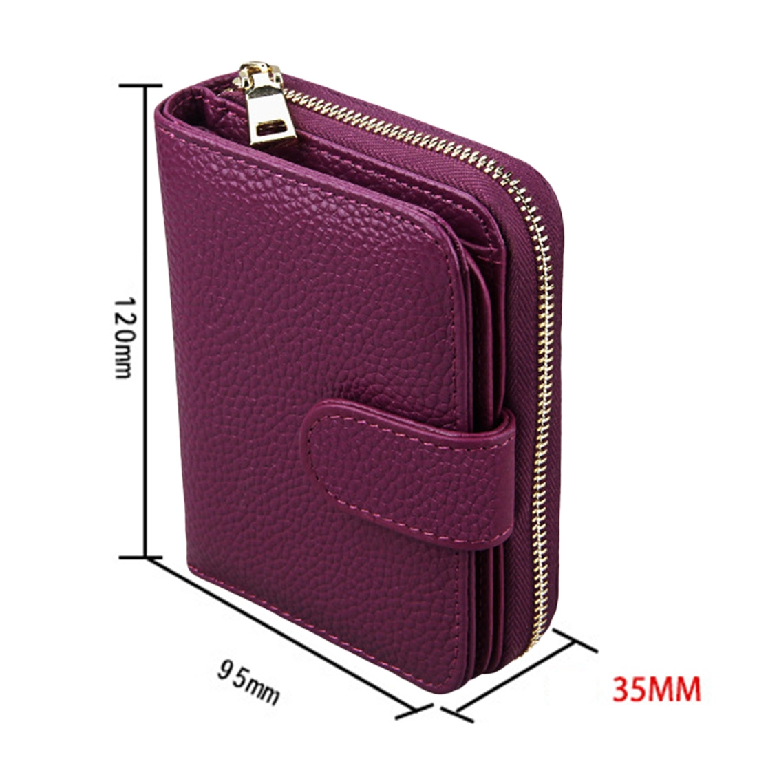 KB132 Female Style Full Grain Cow Leather Multifunctional Wallet/ Card Bag/ Driving License Package (Purple)