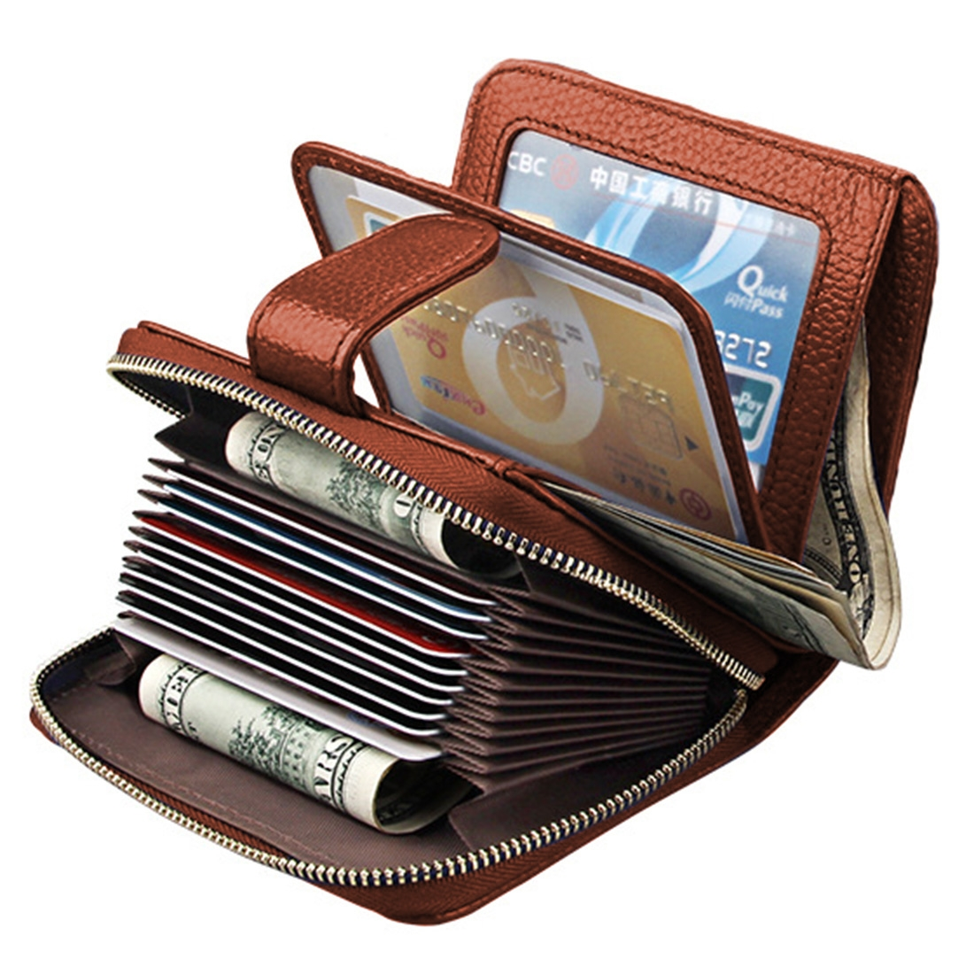 KB132 Female Style Full Grain Cow Leather Multifunctional Wallet/ Card Bag/ Driving License Package (Brown)