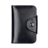 KB39 Simple Fashion Genuine leather Organ Card Bag Candy Color Card Package (Black)