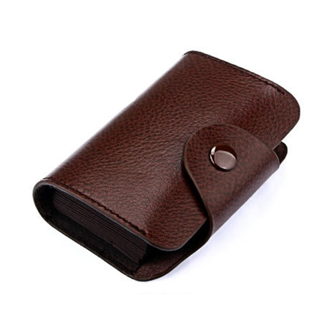 KB39 Simple Fashion Genuine leather Organ Card Bag Candy Color Card Package (Coffee)