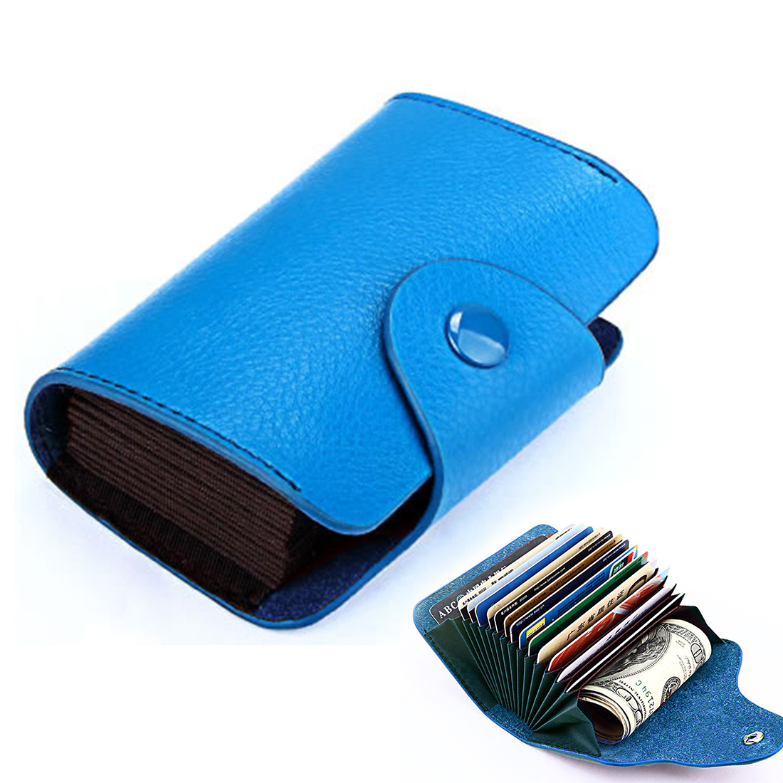 KB39 Simple Fashion Genuine leather Organ Card Bag Candy Color Card Package (Blue)