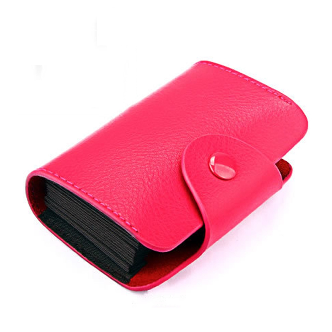 KB39 Simple Fashion Genuine leather Organ Card Bag Candy Color Card Package (Magenta)