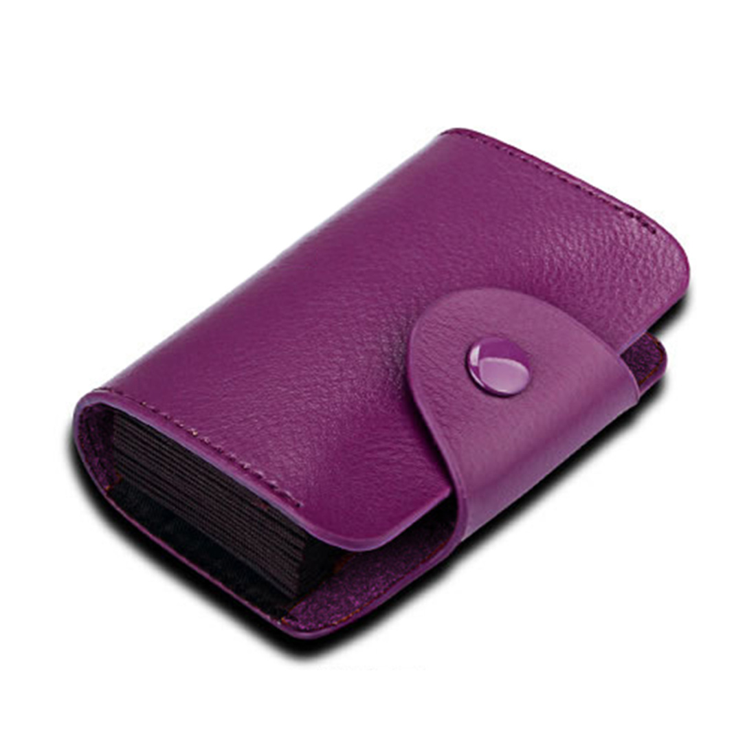 KB39 Simple Fashion Genuine leather Organ Card Bag Candy Color Card Package (Purple)