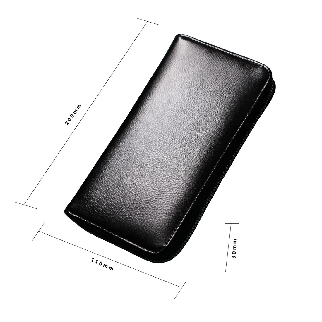 Antimagnetic RFID Large Capacity Long Style Genuine Leather Passport Package / Multifunctional and Many Card Slots Card Package (Black)