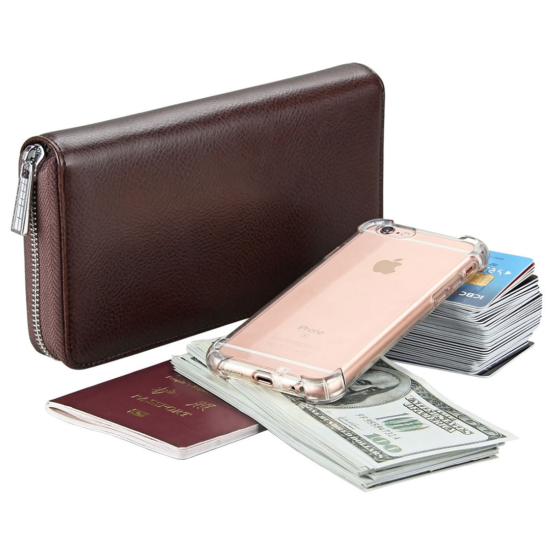Antimagnetic RFID Large Capacity Long Style Genuine Leather Passport Package / Multifunctional and Many Card Slots Card Package (Coffee)