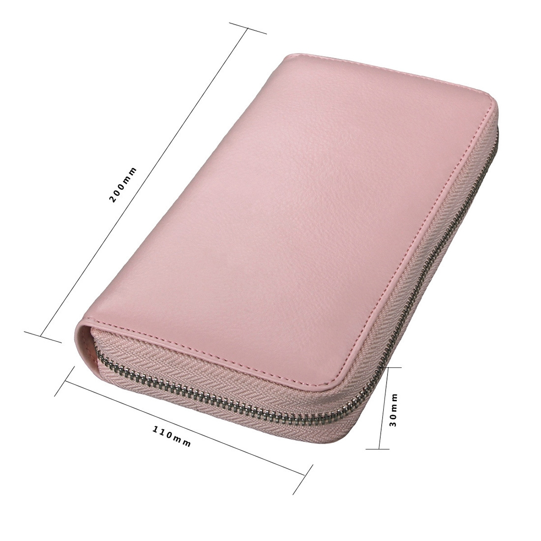 Antimagnetic RFID Large Capacity Long Style Genuine Leather Passport Package / Multifunctional and Many Card Slots Card Package (Pink)