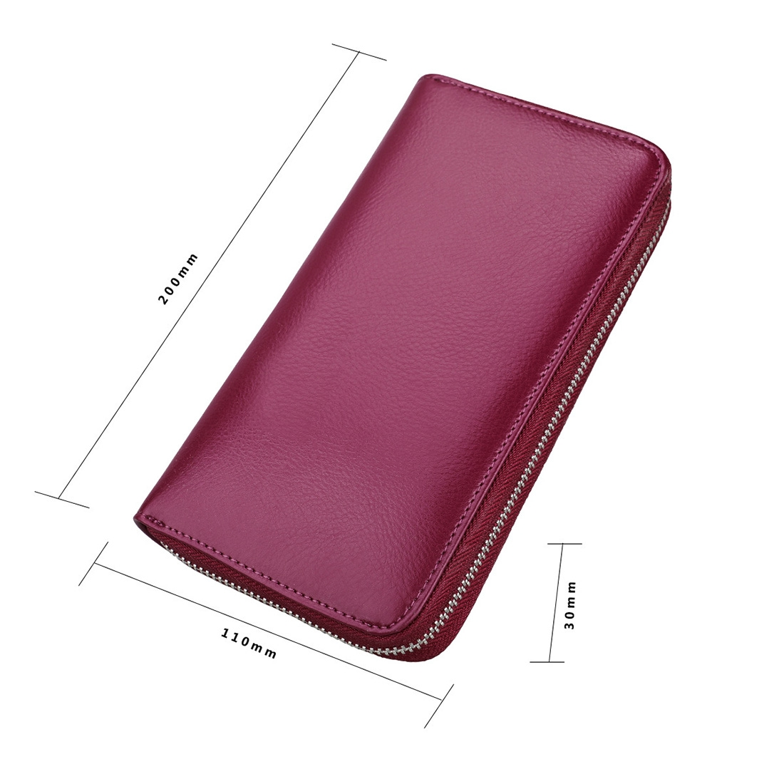 Antimagnetic RFID Large Capacity Long Style Genuine Leather Passport Package / Multifunctional and Many Card Slots Card Package (Purple)