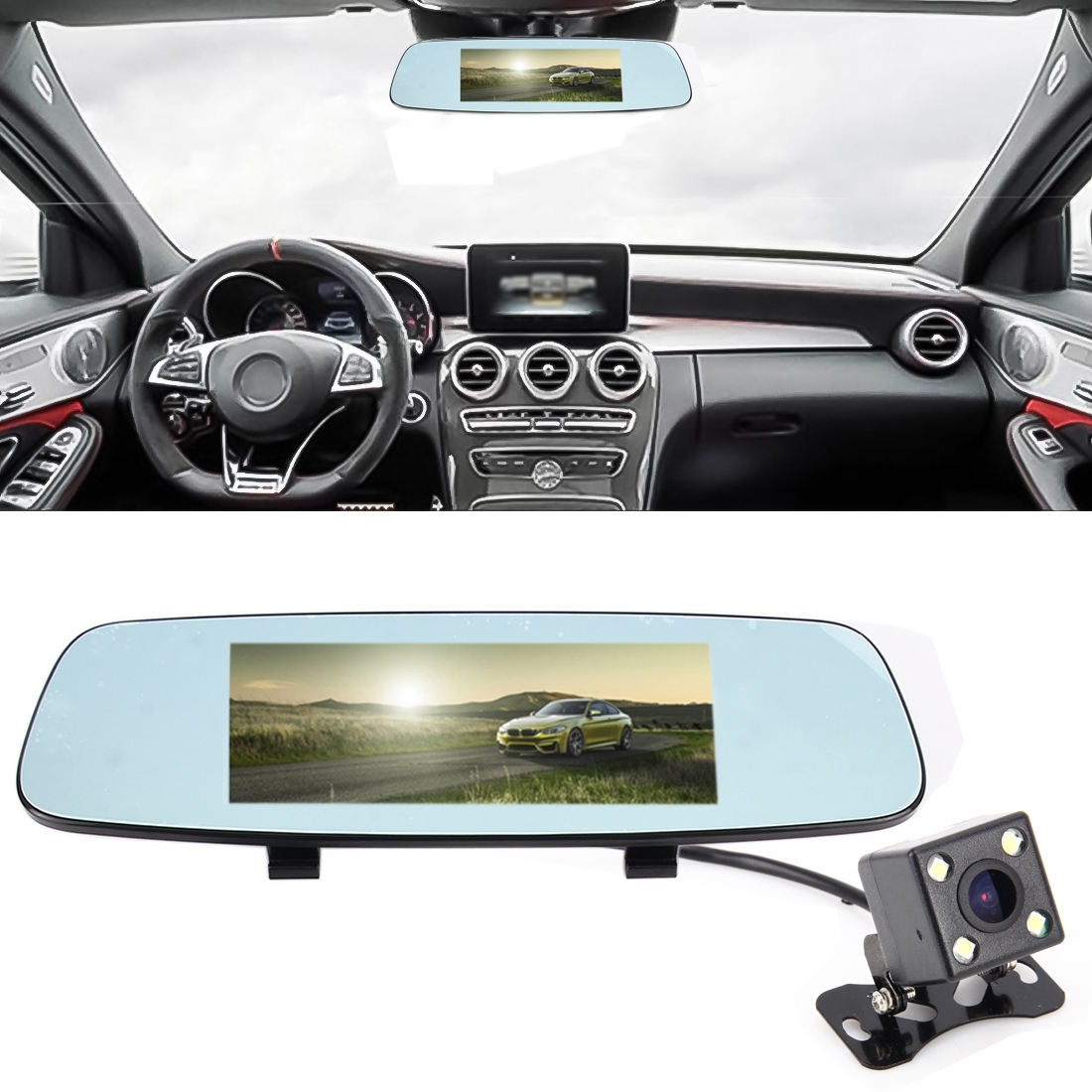 X9s Multi Functional Smart Car Rear View Mirror Video Record Camera