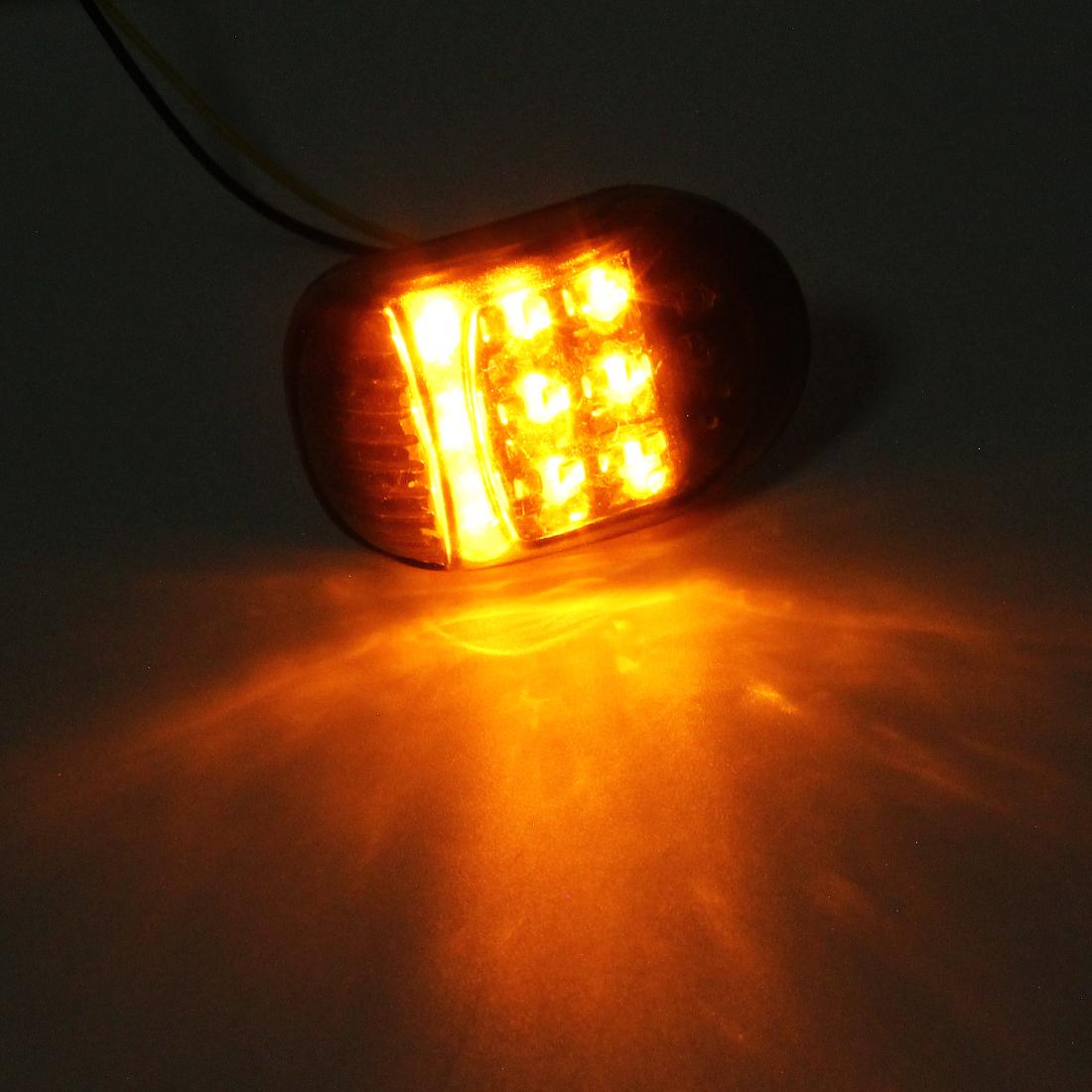 2 PCS Oval Shape DC 12V Motorcycle 9-LED Yellow Light Turn Signal Indicator Blinker Light