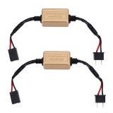 2 PCS H7 LED Headlight Canbus Error Free Computer Warning Canceller Resistor Decoders Anti-Flicker Capacitor Harness