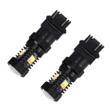 2 PCS Car Auto T25/3157 DC 12V 5W 350LM 16 SMD-3030 LED Bulbs Turn Lamp Backup Light, White + Yellow