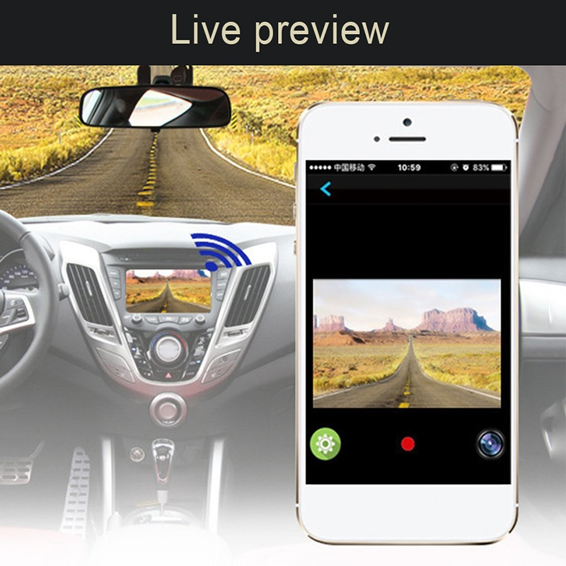 Car DVR Dual Camera WiFi Monitor Full HD 1080P Driving Video Recorder Dash Cam, Night Vision Motion Detection