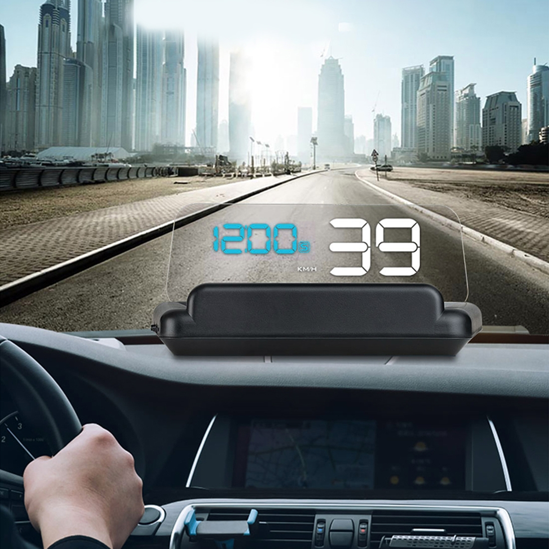 T900 Car GPS HUD Virtual HD Reflection Board Head-up Display, Speed & Driving Distance / Time Display, Over Speed & Voltage & Low Voltage Alarm, Fatigue Driving (Blue + White)